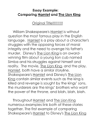 essay example comparing hamlet and the lion king original title