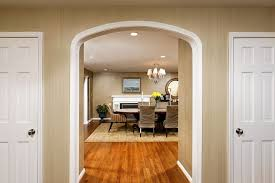 archway trim ideas dining room traditional with wood flooring wood trim wood trim