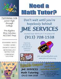 Tutor Advertisement Sample Jme Services Math Tutoring Guardians