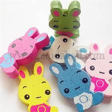 Cartoon Rabbit Beads for Kids, <b>Wooden</b> Beads, Mixed <b>Color</b> ...