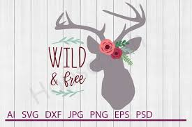 Hand fans egyptian, japanese and spanish free vector. Floral Deer Svg Wild And Free Svg Dxf File Cuttable File 159289 Svgs Design Bundles