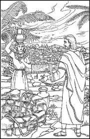 Kleurplaten Nt Samaritaanse Vrouw Ontmoet Jezus Kleurplatendatabase