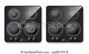 Vector 3d realistic gas stove top view Vector 3d realistic