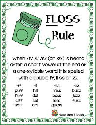 The worksheets start with three to five words that a student already knows and uses those to emphasize a single phonics concept. The Floss Rule Make Take Teach