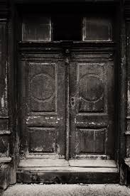 black and white photography old door