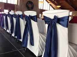 rogers mn wedding reception white scuba chair covers with navy satin sashes