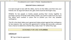 lottery pool contract info florida lottery pool agreement