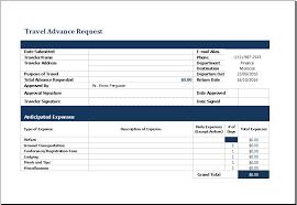 Travel Advance Request Form Templates 8 Free Xlsx Docs