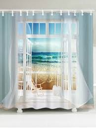 shower curtains. Simple Curtains Waterproof Window Frame Ocean Scene Printing Shower Curtain In Curtains