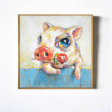 2016 baby pig piggy with rose cartoon animal wall art handmade oil painting canvas prints child on pig canvas wall art with 2016 baby pig piggy with rose cartoon animal wall art handmade oil