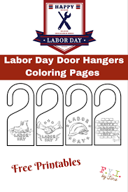 Labor Day Door Hangers Coloring Pages - Free Printable • FYI by Tina