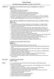 Corporate Investment Bank Legal Resume Samples Velvet Jobs