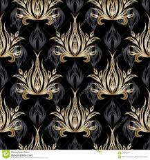Damast Vector Naadloos Patroon Gouden Barok Behang Zwart Fl Vector