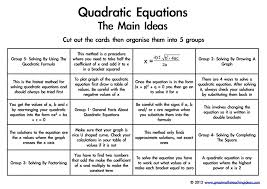 quadratic equations the main ideas a card sort to support conceptual understanding great maths teaching ideas