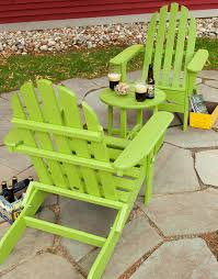 3 piece classic adirondack set chair seating polywood lime green plastic paver patio beer design