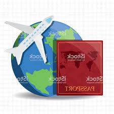 Gm Travel Design Earth Planet With Airplane And Passport Gm Handandbeak