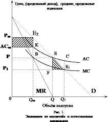 Курсовая работа Естественные монополии и их роль в экономике России Чтобы исследовать этот случай покажем на рис 1 кривые спроса и издержек для монополии действующей в отрасли в которой имеет место экономия от масштаба