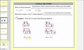 solving literal equations part 1 l7 1