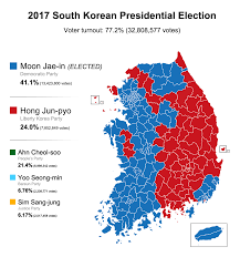 presidential elecion results 2017 south korean presidential election results 879x939 mapporn