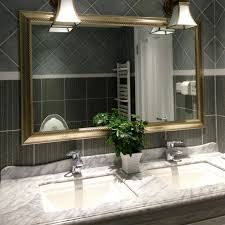 cute bathroom mirror lighting ideas bathroom. Cute Toilet Mirrors Ideas Frame Combine With Black Tile Barrier Plus White Marble Self-importance Bathroom Mirror Lighting