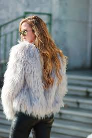 chicwish gray fur coat h m leather pants and ray ban round metal sunglasses