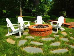 patio stones with grass in between. Plain Stones Gorgeous Brick Fire Pit Fashion Charlotte Traditional Landscape Decoration  Ideas With Adirondack Chairs Brick Fire Pit Flagstone Grass  Intended Patio Stones With Grass In Between