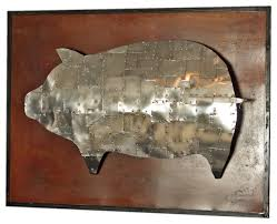 armored pig metal sculpture on metal pig wall art with armored pig metal sculpture industrial metal wall art by