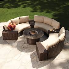 modern outdoor sectional. Interior And Home: Appealing Modern Outdoor Wicker Circular Patio Sectional With Stone Top Fire Curved