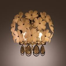Nature inspired lighting Lamp Natureinspired White Flower Decoration Embraced Stainless Steel Frame And Beautiful Crystal Drops Give Sparkling Takeluckhome Natureinspired White Flower Decoration Embraced Stainless Steel