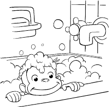 Curious George Coloring Pages Take A Bath Coloringstar