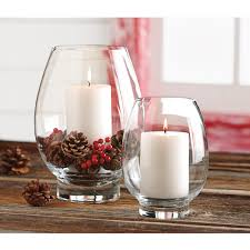 tag clear glass large lotus hurricane candle holder