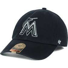 Miami Marlins 47 Brand Mlb Black Out Franchise Fitted Cap Hat Baseball Mens M Ebay