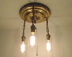 recycled lighting. Vintage ANTIQUE BRASS Chandelier Light With Seeded Shades Pendant Lighting Ceiling Flush Mount Farmhouse Glass Recycle Recycled R