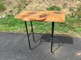 iron pipe furniture. Custom Made Wood And Black Iron Pipe Sofa/End Table - Rustic Industrial Live Edge Furniture