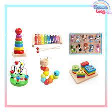 Bộ 6 món đồ chơi giáo dục 2 - chất liệu gỗ an toàn - phát triển trí tuệ cho  bé Times City