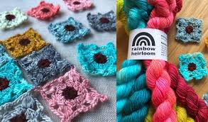 Rainbow Heirloom Little Square Crochet Motif Free Pattern