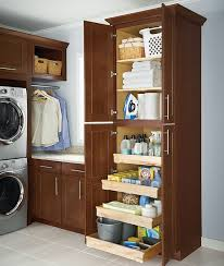 Drawers in laundry room cupboards