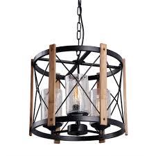 Circular Wood Metal Pendant Lamp Light Fixture With Glass Shade