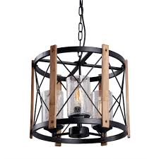 circular wood metal pendant lamp light fixture with glass shade black finished retro rustic vintage industrial