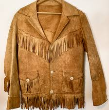 native american nubuck leather jacket with fringe