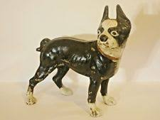 antique hubley large cast iron boston terrier dog door stop