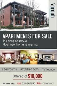 Apartment For Rent Sign Template Real Estate Flyer Design