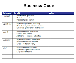 Free Case Template Business Case Template Excel Sample Business Case 6 Documents In