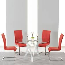 balino glass round dining table with 4 milan red chairs 4842