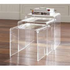 Amazon.com: HomCom 3pc Acrylic Stackable Nesting End Side Tables - Clear:  Kitchen & Dining