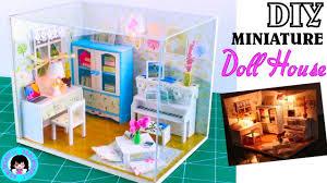 diy miniature dollhouse living room kit with lights