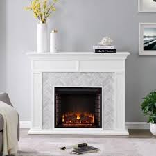 Southern Enterprises Doris Marble Tiled 50 in. Electric Fireplace in White  and Gray, White finis… in 2020 | White fireplace mantels, Home fireplace,  Fireplace tile surround