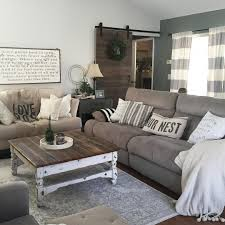 farmhouse country furniture. this country chic living room is everything has us swooning great decorating ideas for farmhouse decor too gray and white horizontal stripe furniture t