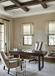 neutral home office ideas. Neutral Home Office With Grasscloth Wallpaper And Stained Coffered Ceiling Beams #Neutralhomeoffice #homeoffice # Ideas