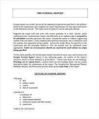 Formal Report Template 24 Sample Reports 253625585007 Formal